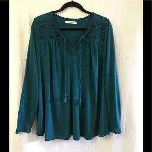 Dark Teal Boho Style Top w/ Embroidery Detail